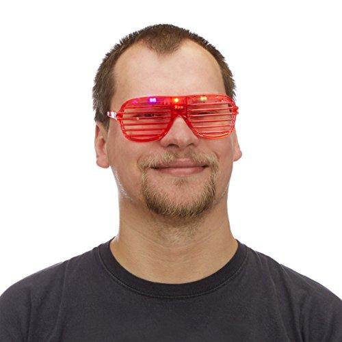 Relaxdays Partybrille mit LED-Licht, leuchtend, Atzenbrille, Accessoire Fasching, Karneval,...