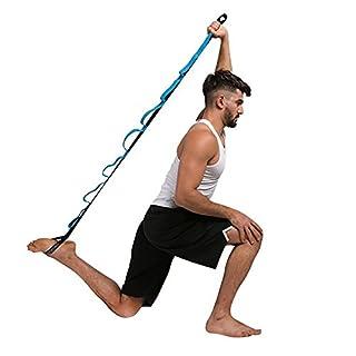 Alxcio Yoga Gurt Dance Strap Stretching Strap Fitnessbänder mit 10 Grip Loops - Yogagurt Yoga Gymnastik-band für Pilates, Fitness, Stretching, Yoga, Tanzen, Ballett Sports Training 200cm, Blau