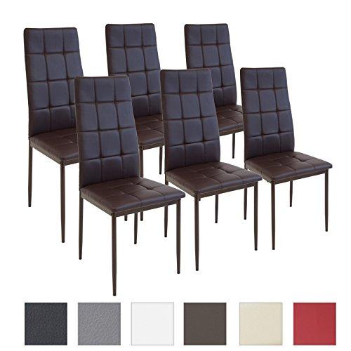 Albatros rimini - set di 6 sedie per sala da pranzo, colore: marrone