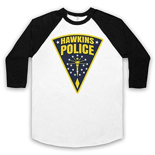 Inspiriert durch Stranger Things Hawkins Police Badge Logo Inoffiziell 3/4 Hulse Retro Baseball T-Shirt Weis & Schwarz
