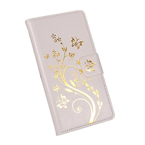 BaiWei Easbuy Mit Gold Blumen Pattern Kunstleder Flip Cover Tasche Handyhülle Case Mit Karte Slot und Stander Halter Design Hülle Etui für Oukitel C5 Pro Smartphone Handytasche