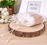 Estes.el Bastoncillos de algodón con bastoncillos de madera natural, bastoncillo de algodón con doble cabeza, paquete de 1, total de 200