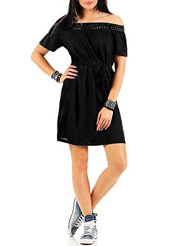 Vero Moda Damen Off Shoulder Kleid Laura Gürtel schulterfrei black S