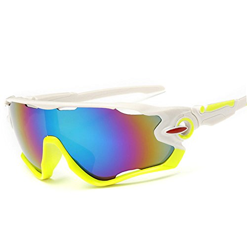 KRY UV400Occhiali da sole sportivi da uomo, infrangibili, montatura in metallo, ideali per guida, golf e pesca, Uomo, White & Lemon, 145mm * 50mm * 122mm