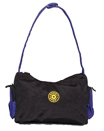 Fortuning's JDS® Singolo sacchetto di spalla borsa trendy unico di tela nera borsa a mano tote nero