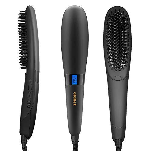 Glättbürste Haarglätter Bürste Keramik Ionen Schnellaufheizungsfunktion mit Hitzeschutz für Haarpflegen von ELEHOT (Schwarz)