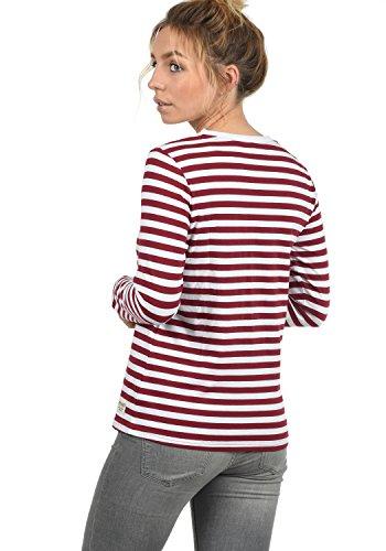 DESIRES Mila Damen Longsleeve Langarmshirt mit Rundhals-Ausschnitt und Streifen-Optik Aus Hochwertiger Baumwollmischung Biking-Red (0799)