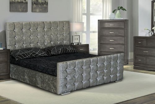 Double/ Kingsize Cubed Upholstered Crushed Velvet Bed Frame storage in Silver & Black colour. Sleepkings - Sleep Well For Less (5ft Kingsize, Silver Crushed Velvet)