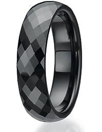 6mm facettierten Design schwarz Keramikring