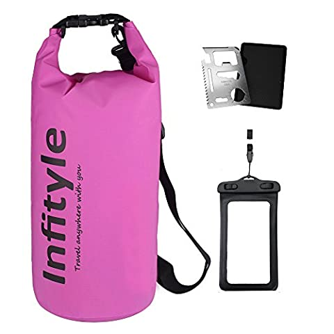 Waterproof Dry Bags - Floating Compression Stuff Sacks Gear Backpacks for Kayaking Camping - Bundled with Phone Case and Pocket Tool (Purple, 10L)