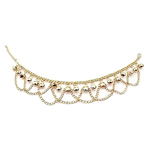 Jewelry 18k Gold Plated Copper Women Anklet Bracelet Chain Bells Pendant Twisted Rope Adjustable