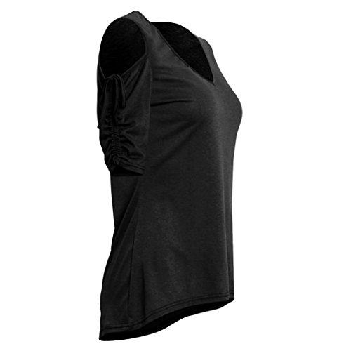 2017 Manica corta Xmansky Donne Sexy Camicia drappeggiato Maglietta Nero