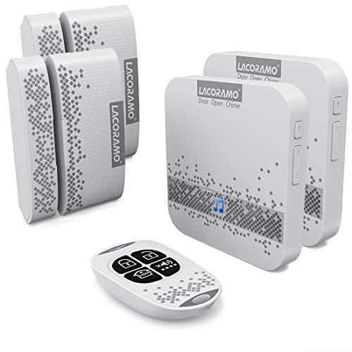 LACORAMO türalarm Fenster Alarm - Tür Sensor Klingel Mit Fernbedienung, 656ft Betriebsreichweite 52 Glockenspiele 5-stufige Lautstärke, Türöffnungswarnung Mit LED-Anzeige