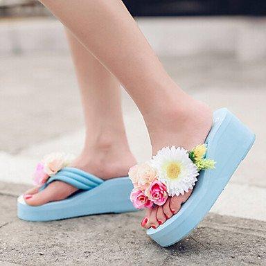 zhENfu Donna Sandali Comfort PU molla informale comfort arrossendo Rosa Blu Bianco 2A-2 3/4in Blue