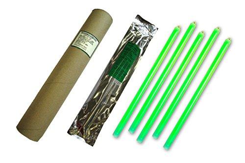 Cyalume Tube de 5 Bâtons Lumineux SnapLight Non-IMPACT 40cm Vert 1 Anneau 12 Heures 15'' Emballés Individuellement