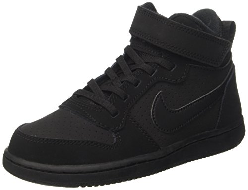 Nike Jungen Court Borough Mid (Psv) Basketballschuhe, Schwarz (Black Black), 33 EU