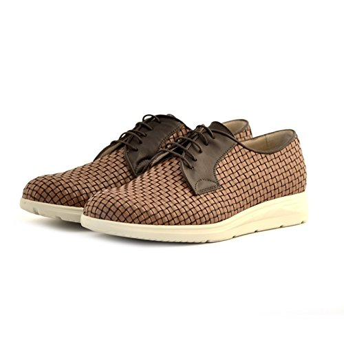 scarpe Soldini uomo stringate pelle intreccio marrone cuoio 41