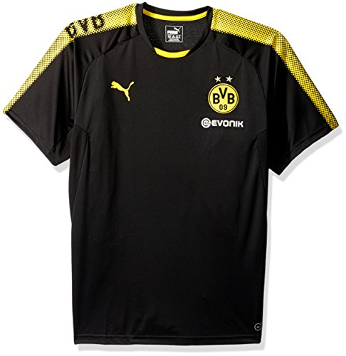 PUMA Herren BVB Training Jersey with Sponsor Logo, Black/Cyber Yellow, M (Baby Hoodie Puma)