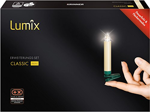 LUMIX Classic Mini, kabellose LED-Mini-Christbaumkerzen, Erweiterungs-Set mit 6 Kerzen, Flackermodus, elfenbein, Art. 75432