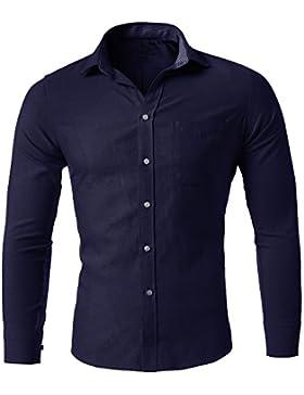 Harrms Camicia Uomo Oxford, Collo con botoni, Slim Fit, Camicia Casual/Formale Elastica per Uomo, 11 Colori tra...