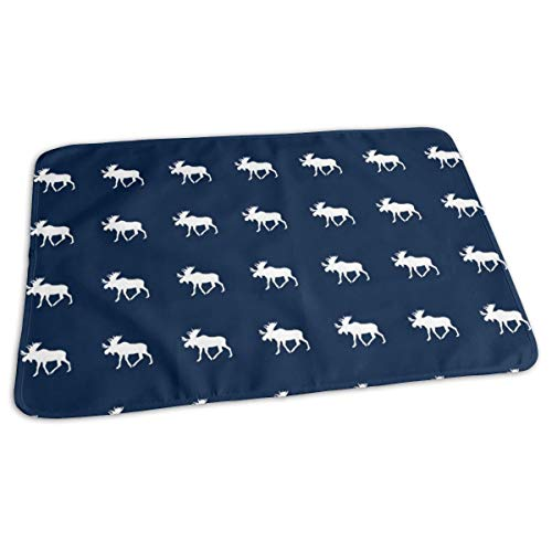 Baby Reusable Diaper Changing Pad - Quilt Block Moose On Navy_5595 Portable Waterproof Urine Mat ((27.5 x 19.7 Inch), 70 x 50 cm)