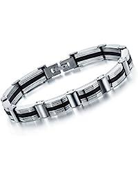 Yellow Chimes Black-Silver Metal Bracelet For Men And Boys