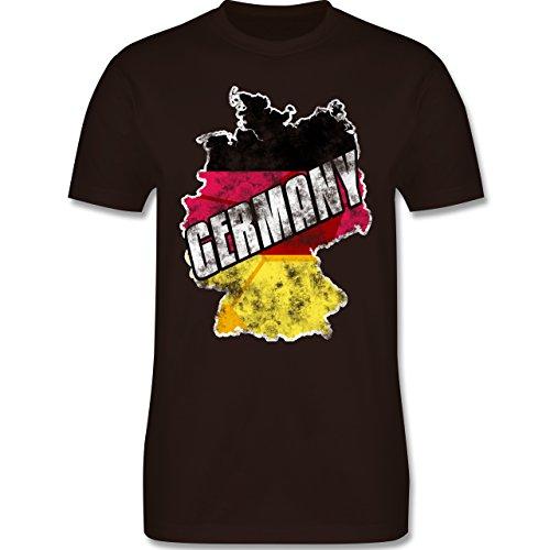 EM 2016 - Frankreich - Germany Umriss Vintage - Herren Premium T-Shirt Braun