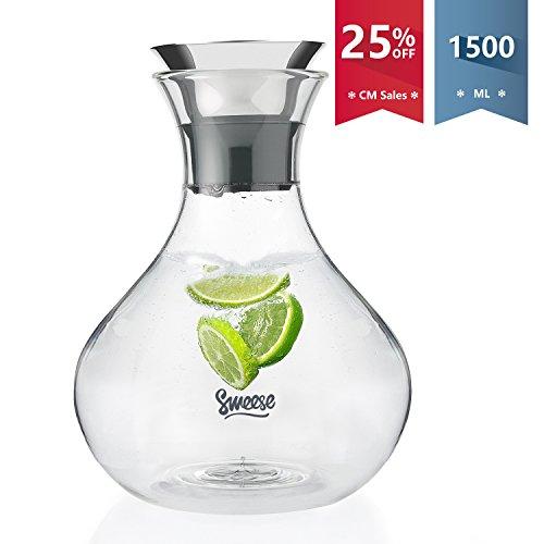 Sweese Wasserkaraffe - 1500 ml Karaffe Hitzebeständigkeit Wasserkrug mit Edelstahl und Silikon Tropf-Freie Lippe, Glaskaraffe für Säfte und Eistee, Wein oder Glas Milchflaschen