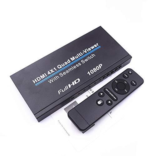Prima05Sally HDMI 4x1 Quad Multi-Viewer HDMI 4-Bildschirm-Splitter 4x1 Splitter 4-in-1-Out Seamless Switcher Schwarz Quad Switcher