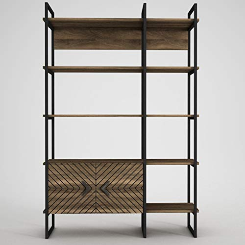 Alphamoebel 4173 Santana Bücherregal Standregal Raumteiler, Holz, Walnuss, schwarzer Metallrahmen, 5 Regalebenen, Viel Stauraum, mit Türen, 120 x 180 x 39 cm
