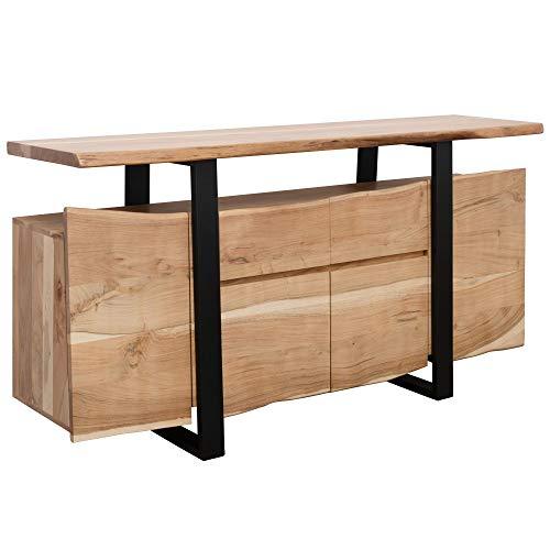 FineBuy Sideboard Akazie Kommode Massiv Holz 175x90x44cm   Highboard mit Türen & Schubladen Modern   Massive Design Anrichte   Kleiner Massivholz Schrank Landhaus   Holzkommode Baumkante