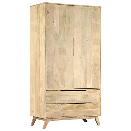vidaXL Mangoholz Massiv Kleiderschrank mit 2 Türen 2 Schubladen Schlafzimmer Garderobenschrank Schrank Holzschrank Garderobe 100x55x190cm