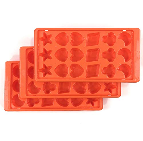 Home Line Eiswürfelform mit 6 Motiven 3er Set - 3X 18 Eiswürfel in Form von Kreuz Pik Herz Karo Stern Mond - Eiswürfelbereiter Eisform Eiswürfelbehälter aus stabilem Kunststoff