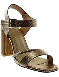 Angkorly Chaussure Mode Sandale Escarpin Lanière Cheville Femme Multi-Bride  Peau de Serpent Bois Talon 87f09f976372