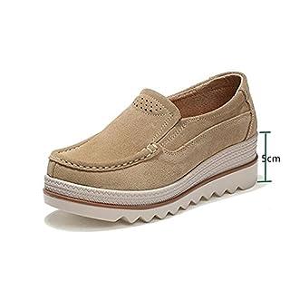 Damen Mokassins Plateau Wildleder Schlupf Loafers Halbschuhe Sneaker mit Keilabsatz 5cm Schwarz Blau Khaki 35-42 Khaki 38