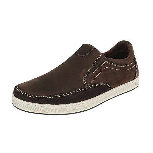 Slipper Leder Herrenschuhe Low-Top Slipper Ital-Design Halbschuhe Dunkelbraun 059134