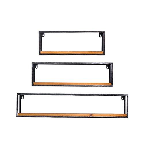Mensola in metallo per soggiorno in ferro per bar   mensola a muro in legno loft per camera da letto come scaffale per scaffali cornice mobile flottante come decorazione da parete design stile vintage nordico industriale (quantità: mensola * 3)
