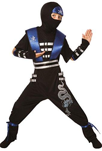 Krieger Ninja Kostüm Junge (,Karneval Klamotten' Ninja Kostüm Krieger Samurai Assassin Jungen Kostüm Kinder schwarz blau Komplett-Kostüm Größe)
