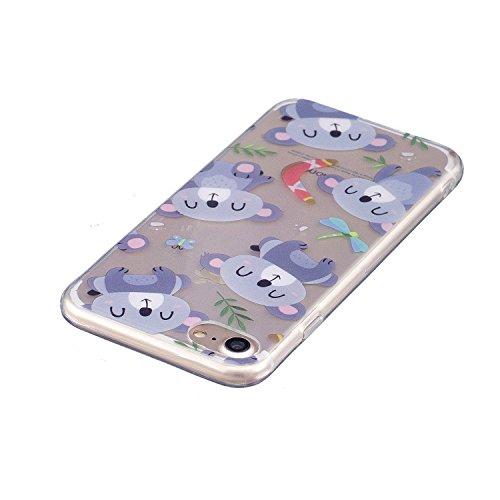 Coque iPhone 7 , Etui Coque TPU Slim Housse Cover avec Couleur Amour Motif mode Conception Bumper pour E-Lush Apple iPhone 7 (4.7 pouces) Souple Housse de Protection Flexible Soft Case Cas Couverture  Violet Ours