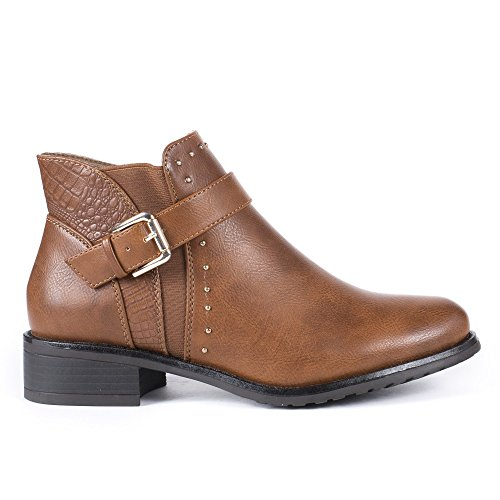 Ideal Shoes Bottines en Similicuir avec Partie Effet Reptile et Clous Tana Camel