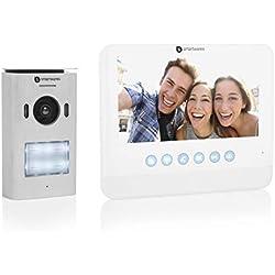 Smartwares - Visiophone 2 fils DIC-22212 - Caméra HD 720p panoramique et fonction enregistrement - Ecran 7 pouces