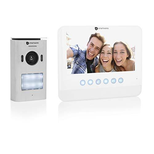 Smartwares DIC-22212 Video Türsprechanlage (für 1 Teilnehmer mit Aufzeichnungsfunktion, 720p HD, 7 Zoll (17,8 cm), LCD-Monitor, Schwenk/Neige-Kamera, Nachtsichtfunktion)
