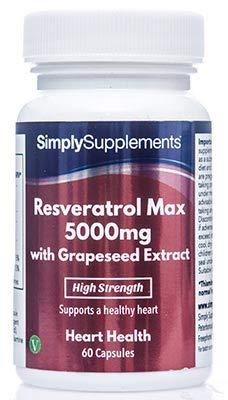Resvératrol 5000mg | 60 Gélules | Avec du thé vert et de l'extrait de peau de Raisin | Adapté aux Végétariens | Fabriqué au Royaume-Uni