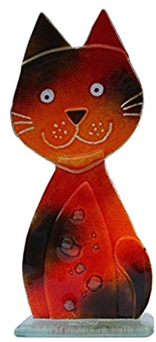 Fused Glass Cool Cats Collection - Charley Cat in tabby colour (Large)