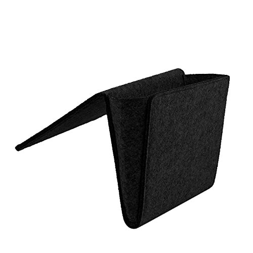 Daite 0,2 '' Dicke Filz Nachttisch-Caddy Tasche 10,9 * 8,6 * 4,3 '' für Telefon, Fernbedienung, Magzine, Glas, Stift, innen mit 2 kleinen Taschen (Schwarz)