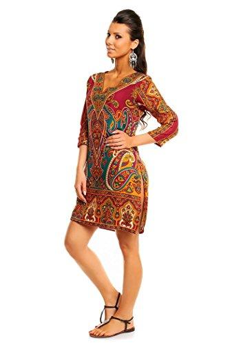Femmes Looking Glam Imprimé Tribal Tunique Caftan Haut Été Robe Midi - Taille 10 - 18 Bordeaux