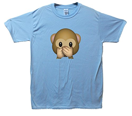 Speak-no-evil Monkey Emoji T-Shirt Hellblau