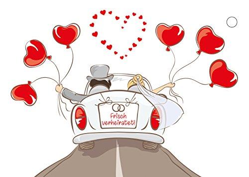 50 Ballonflugkarten für die Hochzeit Motiv Cabrio, extra leichte Ballonkarten, Ballon-weitflugkarten - Cabrio Herz