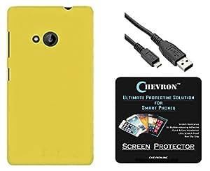 Chevron Rubberized Matte Finish Back Cover Case for Microsoft Lumia 640 with HD Screen Guard & Data Cable (Yellow)