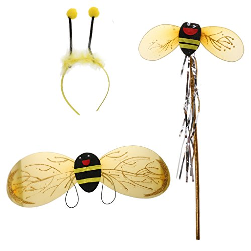 Gazechimp Biene 3Pcs / Set Haarreif Fühler Flügel Fee Halloween Fancy Party Kostüm Karneval (Bumble Kostüme Bee Schöne)